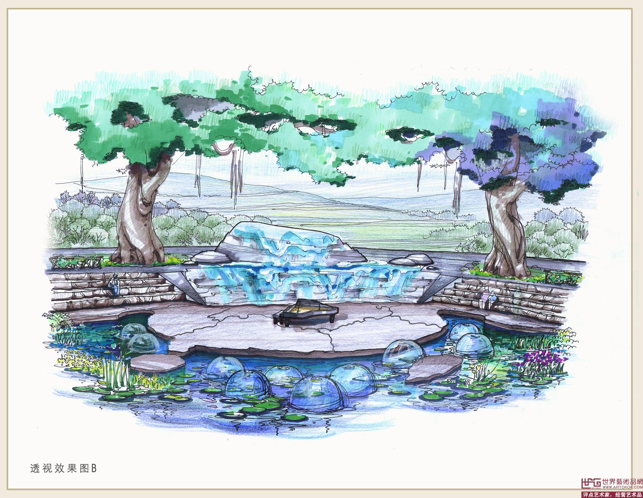 广场环境景观雕塑手绘